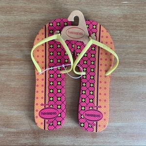 NWT Havianas Pink/Orange Flip Flops 11 (41/42)